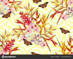 seamless summer tropical pattern with skulls butterflies and