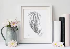 gray wing and white home decor art drawing feather wall art
