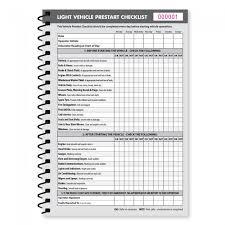 light vehicle pre start checklist book kalamazoo