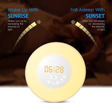 alarm clock that wakes you up in light sleep wake up light sunrise sunset simulation alarm clock 7 colors