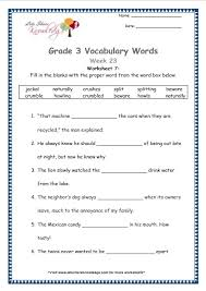 grade 3 vocabulary worksheets week 23 lets share knowledge