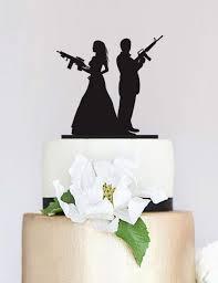 gun wedding topper armed couple silhouette cake topper wedding