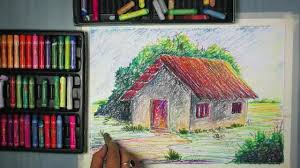 Painting Of House by How To Draw A House Landscape With Oil Pastel Youtube