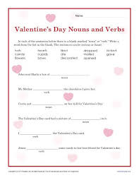 valentine u0027s day nouns and verbs worksheet for 2nd grade