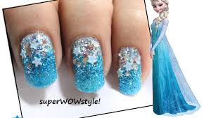 glitter winter nails elsa frozen nail art frozen nails