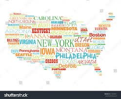 Iowa Map With Cities Usa Map Word Cloud Most Important Stock Vector 415800811
