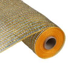 wide mesh ribbon deco poly mesh ribbon laser gold silver wide foil 21
