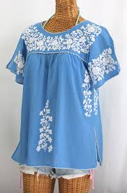 baby blue blouse la lijera embroidered peasant blouse style light blue