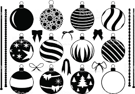 black and white drawings of ornaments and bows stock