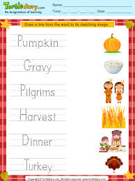 match thanksgiving words with pictures worksheet turtle diary