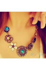 necklace online store images Crystal flowers bib necklace jewelry and accessories for rs 199 jpg