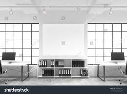 Office Table Front View Open Space Office Big Windows Tables Stock Illustration 366438716