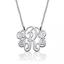 Engraved Monogram Necklace Fancy Personalized Monogram Necklace In 925 Sterling Silver Gold