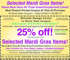 mardi gras items in store coupon 25 selected mardi gras items also masks