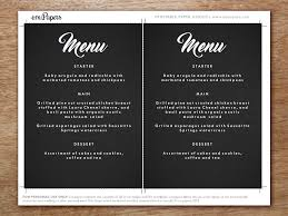 editable menu templates printable menu retro chalkboard wedding menu template