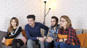comedy film video clip multinational company sit on the couch and watch the comedy movie 50