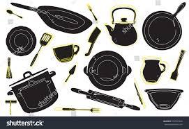 background kitchen tools set cooking utensils stock vector