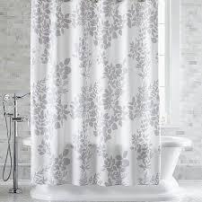 Botanical Shower Curtains Silhouette Print Gray Shower Curtain