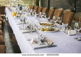 Banquet Table Table Setting Luxury Wedding Reception Stock Photo 12854140