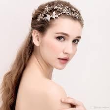 bridal headband antique gold leaf bridal headband tiara handmade rhinestone