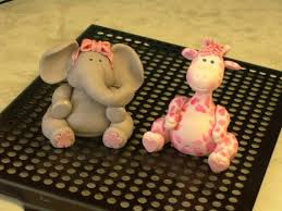 edible fondant baby giraffe and baby elephant cake toppers