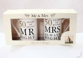 50 wedding anniversary gifts 50th anniversary gift set of 2 china mugs mr right