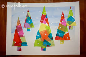 Arts And Crafts Christmas Tree - winter tissue paper trees wee folk art