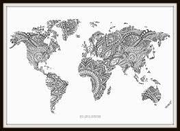 Items Similar To Art Print - items similar to zentangle world map art print on etsy woodshop