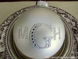 rhinestone monogrammed ornaments and a blinged out table