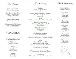 wedding bulletins exles exle of wedding programs wedding program back side tea