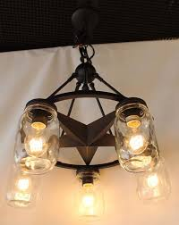 5 light lone star chandelier with clear mason jar lighting glass