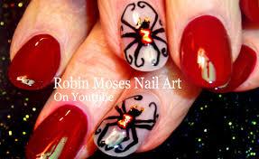 diy black widow spider nail art design halloween nails tutorial