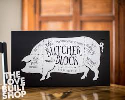 personalized custom butcher block pig sign kitchen home decor