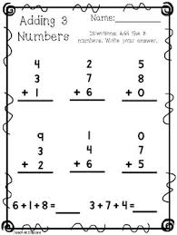 10 adding 3 numbers worksheets kdg 1st grade math by teach at