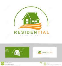 real estate house green orange logo stock vector image 51915750
