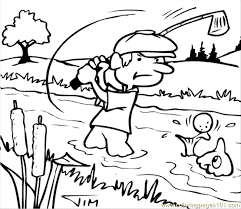 golf fish coloring free golf coloring pages