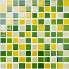 wholesale glass mosaic for swimming pool tile sheet green yellow