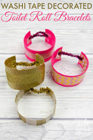 washi decorated toilet roll bracelets or cuffs mum in the madhouse