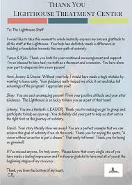 thank you letter from a grateful client lighthouse treatment