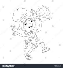 coloring page outline cartoon chef stock vector 424571794