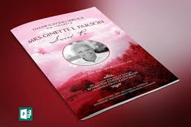Beautiful Funeral Programs Pink Sky Funeral Program Publisher Template On Behance