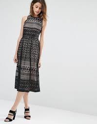 warehouse panelled lace midi dress black women dresses warehouse
