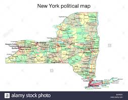 Maps Of New York State by New York State Political Map Stock Photo Royalty Free Image