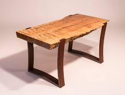 curved wood side table live edge curly maple slab coffee table with curved ipe legs