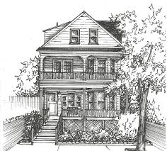House Drawing by Commission An Original Ink House Drawing Architectural