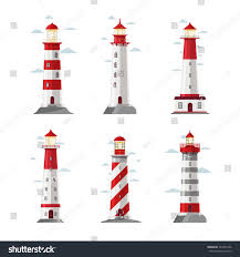 decorative lighthouses for in home use cartoon lighthouse icons vector beacon pharos stock vector