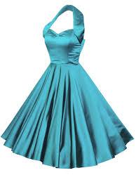 1950s halterneck turquoise duchess dress from vivien of holloway