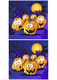 find 10 differences between the two images with halloween pumpkins