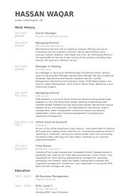 Business Manager Resume Example by Events Manager Resume Samples Visualcv Resume Samples Database