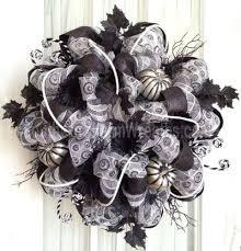 sophisticated halloween deco mesh wreath black white pumpkin